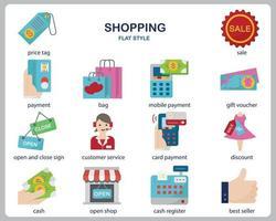 Einkaufssymbolsatz für Website, Dokument, Plakatgestaltung, Druck, Anwendung. Einkaufskonzeptikone flacher Stil. vektor