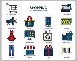 Einkaufssymbolsatz für Website, Dokument, Plakatgestaltung, Druck, Anwendung. Einkaufskonzept Symbol gefüllt Gliederungsstil. vektor