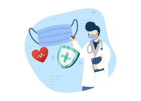 Viruspräventionskonzept-Vektorillustration. Der Arzt empfiehlt die Verwendung einer medizinischen Maske. Coronavirus Prävention. kann für die Homepage mobile Apps verwenden. Charakter Cartoon Illustration flachen Stil. vektor