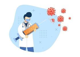 virus förebyggande ikon konceptet vektorillustration. läkare bekämpa virus med vaccin. vaccination. karaktär tecknad illustration platt stil. vektor