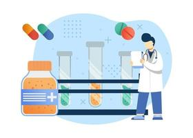 Medizin- und Gesundheitskonzept-Vektorillustration. medizinische Forschung für Medizin und Impfstoff. kann für Homepage, mobile Apps, Web-Banner verwenden. Charakter Cartoon Illustration flachen Stil. vektor