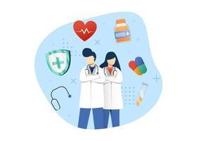 Medizin- und Gesundheitskonzept-Vektorillustration. männlicher und weiblicher Arztcharakter. Ärztlicher Dienst. kann für Homepage, mobile Apps, Web-Banner verwenden. Charakter Cartoon Illustration flachen Stil. vektor