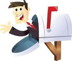 Cartoon-Geschäftsmann im Briefkasten vektor