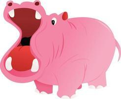 Cartoon rosa Nilpferd mit weitem Mund vektor