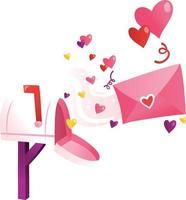tecknad kärleksbrev brevlåda vektor