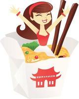 Cartoon chinesische Takeout-Box mit Nudeln und Mädchen vektor