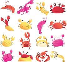 tecknad krabbor set