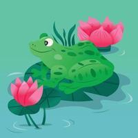 tecknad fläckig grön groda på liljkudde i dammen vektor