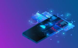 isometrisk smartphone-anslutning. futuristiskt koncept. vektor