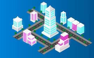 isometrisk stadsbana. futuristiskt koncept. vektor