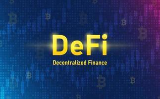 Defi-Kryptowährung auf Systemhintergrund. futuristisches Konzept. vektor