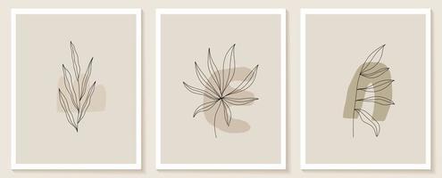 Satz von Blumen kontinuierliche Linie Kunst. abstrakte zeitgenössische Collage geometrischer Formen in einem modernen trendigen Stil. Vektor für Schönheitskonzept, T-Shirt Druck, Postkarte, Poster