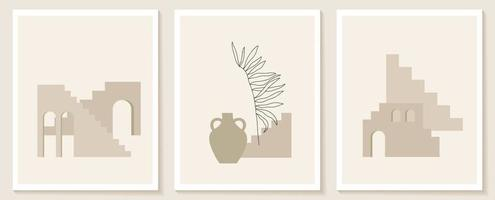 trendiger zeitgenössischer Satz des ästhetischen Hintergrunds mit Geometriearchitektur, marokkanischen Treppen, Wänden, Bogen, Bogen, Vasen. Vektorplakate für Wanddekoration im Vintage-Stil vektor
