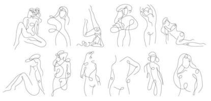 lineare Frauenfigur einstellen. kontinuierliche lineare Silhouette des weiblichen Körpers. Umriss Hand gezeichnet von Avataren Mädchen. lineares Glamour-Logo im Minimal-Stil für Schönheitssalon, Maskenbildner, Stylist vektor