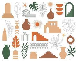 trendig samtida uppsättning estetisk geometrisk arkitektur, marockanska trappor, väggar, båge, båge, vaser, löv. vektor affischer för väggdekor i vintage stil