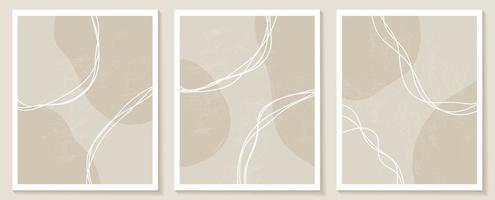 uppsättning snygga mallar med organiska abstrakta former och linje i nakna färger. pastell bakgrund i minimalistisk stil. samtida vektorillustration vektor