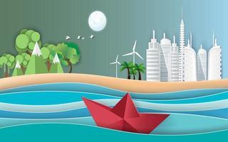 Boot segeln im Meer mit Unterschied zwischen Wald und Gebäude. Papierkunststil. vektor