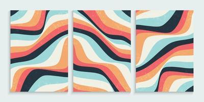 abstrakt färgglada vågiga linjer bakgrund set vektor