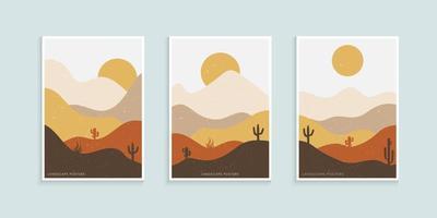 abstrakte minimalistische Landschaft Poster, Berge und Kaktus minimalistische Wanddekoration