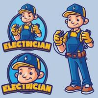 Elektriker Maskottchen Charakter vektor