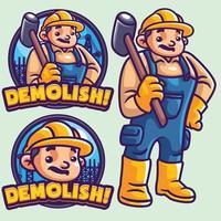 Zerstören Sie Maskottchen Logo Vorlage und Charakter vektor