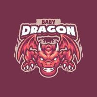 baby dragon maskot karaktär vektor