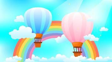 Fantasy-Hintergrund mit Heißluftballons und Regenbogen vektor