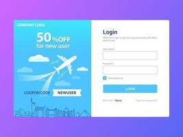 inloggningssides mall design, erbjudande för ny användare