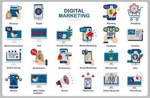 digitales Marketing-Symbolsatz für Website, Dokument, Plakatgestaltung, Druck, Anwendung. flacher Stil der Ikone des digitalen Marketingkonzepts. vektor