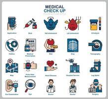 Icon-Set für medizinische Untersuchungen für Website, Dokument, Posterdesign, Druck, Anwendung. Gesundheitskonzept Symbol gefüllt Gliederungsstil.