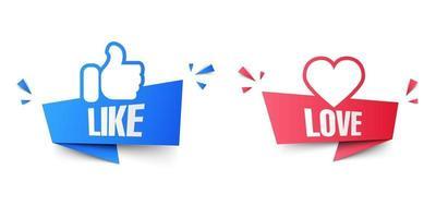 sociala medier som och älskar banderoller isolerad på vit bakgrund, vektorillustration vektor