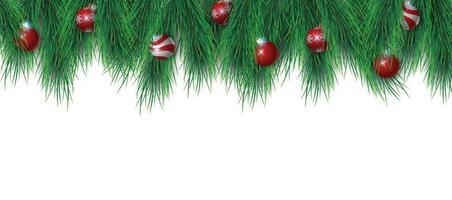 Christmat Baumzweige und Weihnachtskugeln lokalisiert auf weißem Hintergrund, Vektorillustration vektor