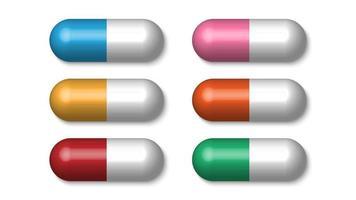 realistiska färgglada medicinska piller, tabletter, kapslar isolerad på vit bakgrund, vektorillustration