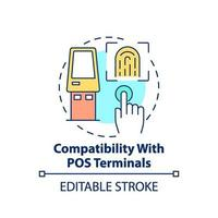 kompatibilitet med pos-terminaler konceptikon vektor