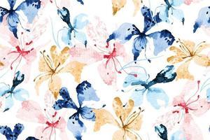 sömlösa mönster av blommande blommor med akvarell 15 vektor