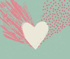 Liebesherz kalligraphisches Hand gezeichnetes Zeichen geschrieben im Retro-Stil. Valentinstag Symbol. Urlaubshintergrund. Weinlesegrußgrußkartenentwurf vektor