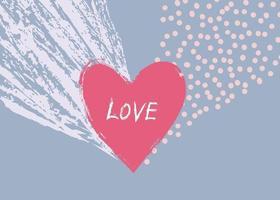 Liebesherz kalligraphisches Hand gezeichnetes Zeichen. Valentinstag Symbol Urlaub Hintergrund. Grußkarten-Design vektor