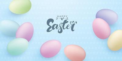 Hintergrund für Osterfest verziert mit bunten Eiern mit Design. handschriftliche Notiz vektor