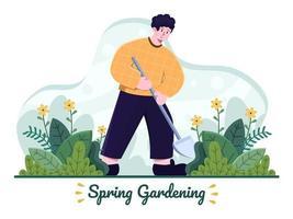 Frühlingsgarten Illustration. Person, die Schaufel benutzt, um Garten zu pflanzen. Leute, die Boden hacken. Frühling Outdoor-Aktivitäten. kann für Website, Banner, Präsentation, Flyer, Postkarte verwendet werden. vektor