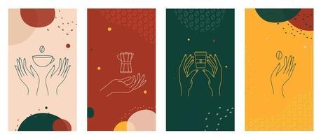 Hände mit Kaffeetasse, Kaffeekanne und Bohnen Logo Vorlagen-Set gesetzt vektor