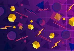 neue Retro-Geometrie und Blitzhintergrund vektor