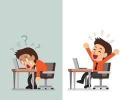 tecknad affärsman uttrycker olika känslor vektor