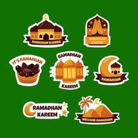 handgezeichneter Ramadhan-Aufklebersatz vektor