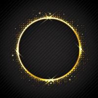 gyllene glittrande ring på svart bakgrund vektor