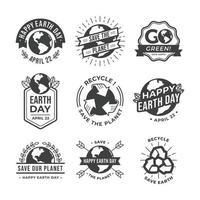 jorddag medvetenhet vintage klistermärken vektor