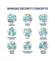Icons des Bankensicherheitskonzepts eingestellt vektor