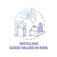 Vermittlung guter Werte in das blaue Farbverlaufskonzeptsymbol der Kinder vektor