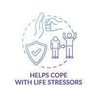 hjälper till att hantera livsstressorer blå lutning koncept ikon