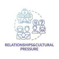 förhållande och kulturellt tryck blå lutning koncept ikon vektor
