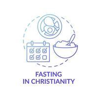 Fasten in der blauen Gradientenkonzeptikone des Christentums vektor